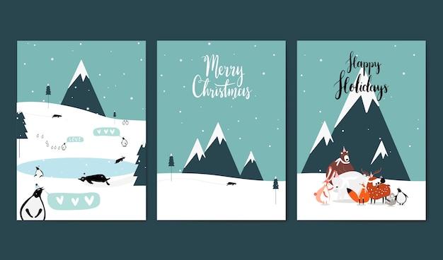 Conjunto de vectores de tarjetas de felicitación con temas de invierno