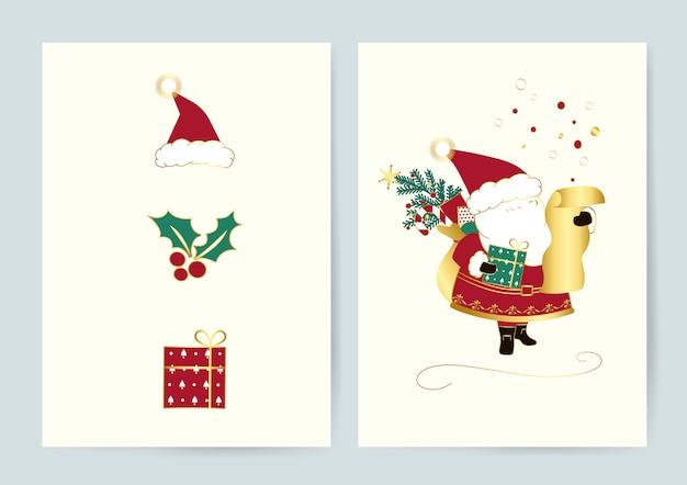 Conjunto de vectores de tarjetas de navidad