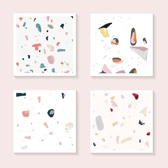 Conjunto de vectores de tarjetas de patrones sin fisuras de colorido terrazo