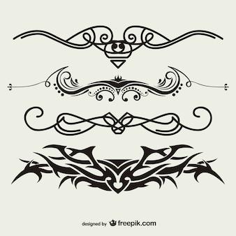 Conjunto de vectores de tatuajes tribales