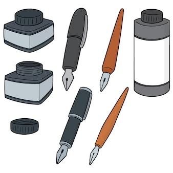 Conjunto de vectores de tinta y pluma fuente