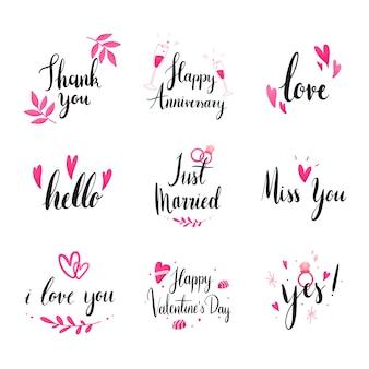 Conjunto de vectores de tipografía de boda y amor.
