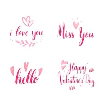 Conjunto de vectores de tipografía del día de san valentín