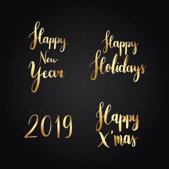 Conjunto de vectores de tipografía de vacaciones de navidad
