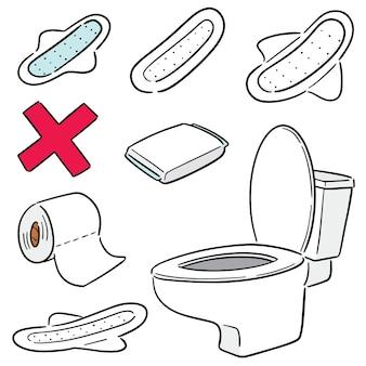 Conjunto de vectores de toallas sanitarias