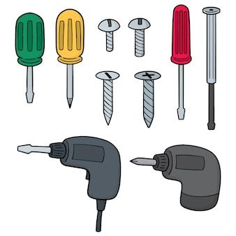 Conjunto de vectores de tornillo y destornillador