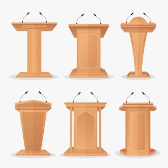 Conjunto de vectores tribuna de podio de madera con micrófonos