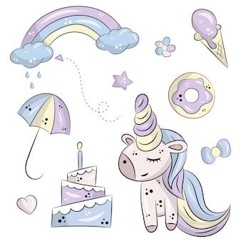 Conjunto de vectores de unicornio lindo