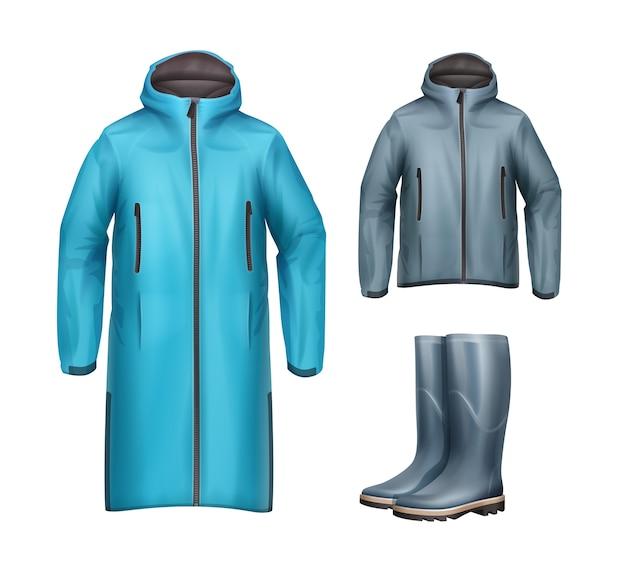 Conjunto vectorial de chaquetas deportivas unisex largas, cortas, azules, grises con capucha y botas de goma vista frontal aislado sobre fondo blanco.