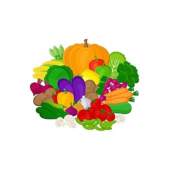 Conjunto de vegetales coloridos frescos en blanco