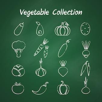Conjunto de vegetales de contorno de estilo de tiza