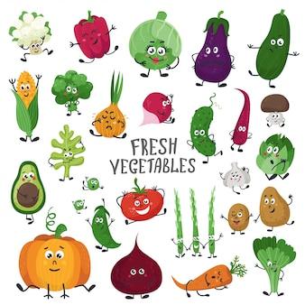 Conjunto de vegetales de dibujos animados.