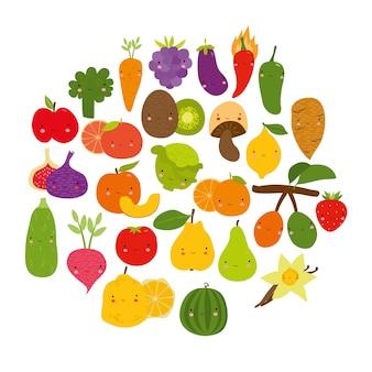 Conjunto de vegetales frutas encantadoras