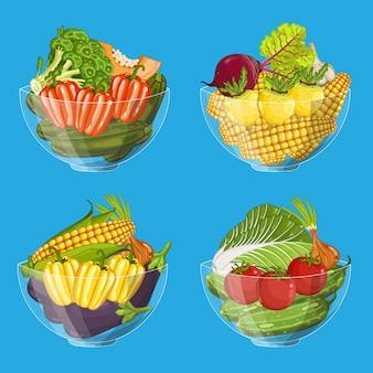 Conjunto de vegetales orgánicos frescos en recipiente de vidrio