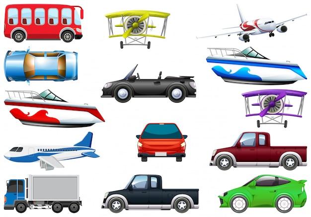 Conjunto de vehículo de transporte.