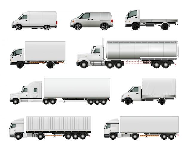 Conjunto de vehículos de carga blancos realistas.