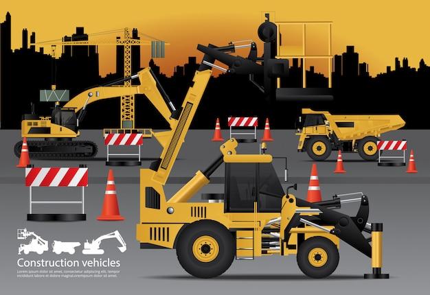 Conjunto de vehículos de construcción