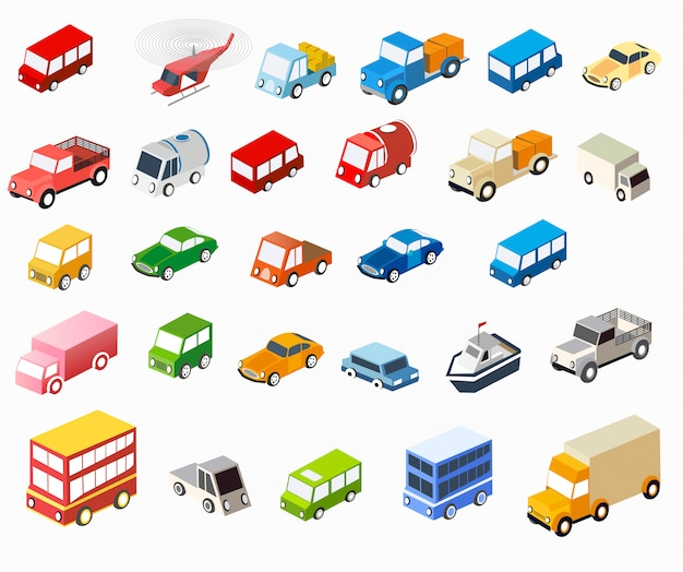 El conjunto de vehículos isométricos planos para creatividad y diseño.