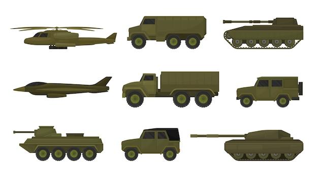 Conjunto de vehículos militares aislado en blanco