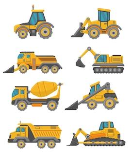 Conjunto de vehículos planos de camiones de construcción amarillos.