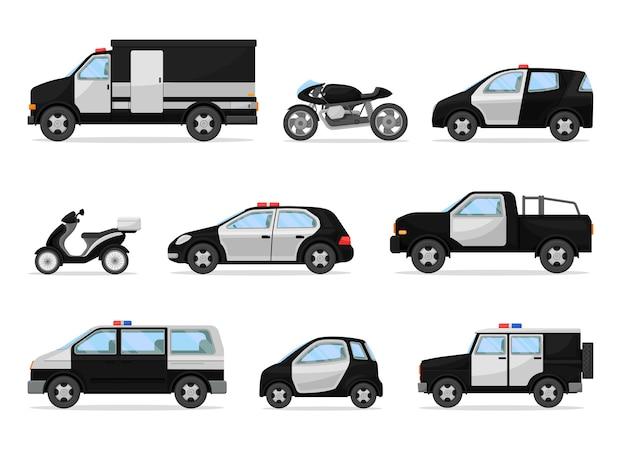 Conjunto de vehículos policiales en blanco y negro.