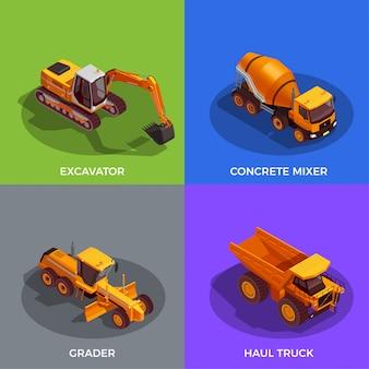 Conjunto de vehículos para trabajos de tierra y transporte de materiales.