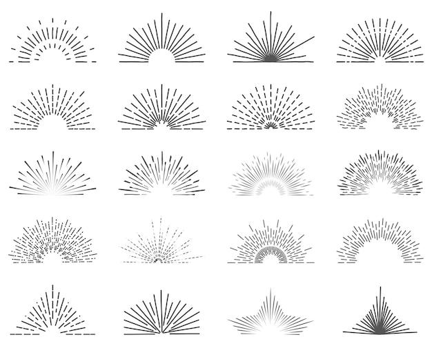 Conjunto de veinte rayos de luz de línea. ráfagas de sol para logos de estilo vintage.