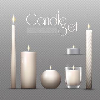 Conjunto de velas brillantes realistas