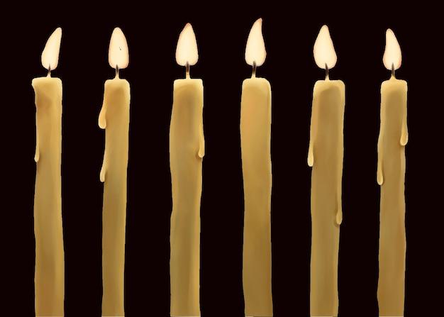 Conjunto de velas de cera ardientes aisladas en la oscuridad