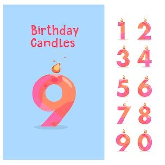 Conjunto de velas de cumpleaños aniversario números