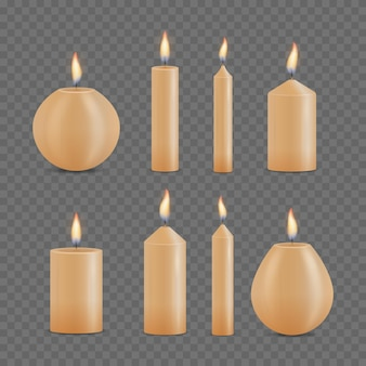 Conjunto de velas diferentes realistas sobre fondo transparente