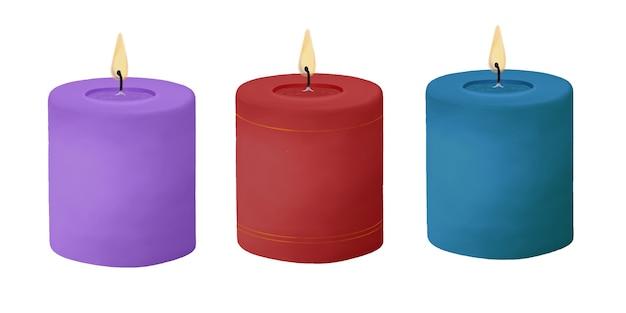 Conjunto de velas encendidas azul rojo púrpura