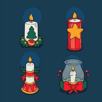 Conjunto de velas de navidad dibujadas a mano