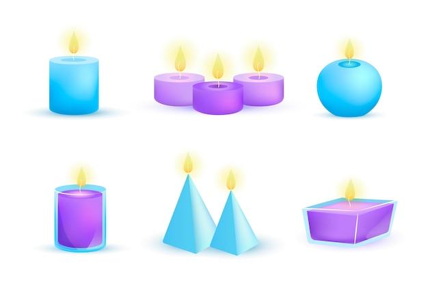 Conjunto de velas perfumadas de ilustración detallada