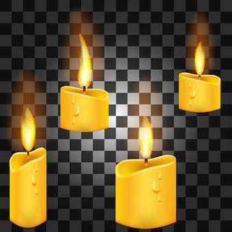 Conjunto de velas realistas con fuego sobre un fondo transparente