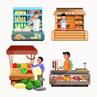 Conjunto de vendedores en el mostrador y puesto. colección de tiendas vectoriales.