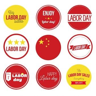 Conjunto de la vendimia del día del trabajo de china