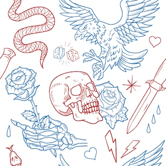 Conjunto de la vendimia patrón de impresión perfecta ilustración de la vieja escuela de diseño gráfico de moda camiseta sudadera bombardero cartel pegatina parche bordado ropa de calle rock águila salvaje rosa calavera rosa cuchillo de serpiente