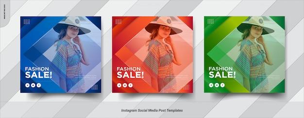 Conjunto de venta instagram post diseño de plantilla de publicación de redes sociales