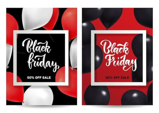 Conjunto de venta de viernes negro de diseño de folletos verticales con globos y marco cuadrado.