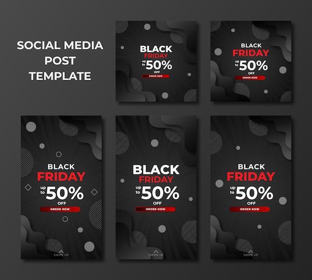 Conjunto de venta de viernes negro en plantilla de diseño moderno para publicación en redes sociales