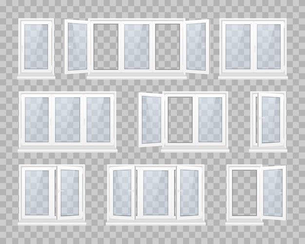 Conjunto de ventana cerrada con vidrio transparente en un marco blanco