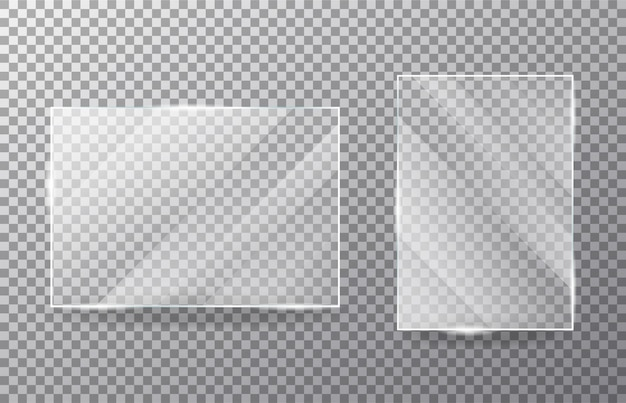 Conjunto de ventana de cristal transparente realista