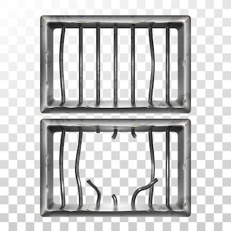 Conjunto de ventana de prisión y barras metálicas rotas