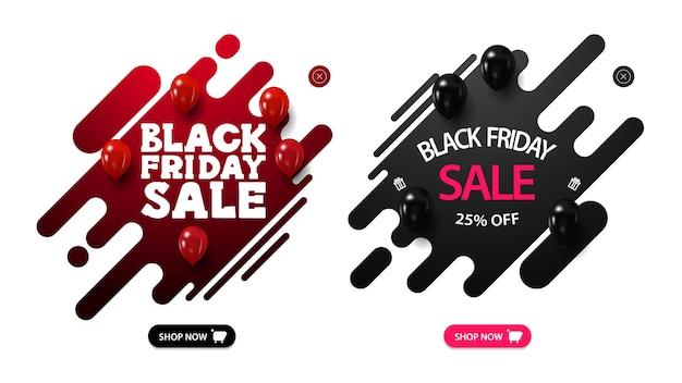 Conjunto de ventanas emergentes de descuento de black friday con formas líquidas, globos y botones. banners de descuento líquido rojo y negro aislados