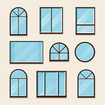 Conjunto de ventanas, ilustración plana