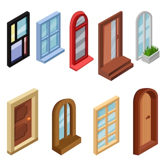 Conjunto de ventanas isométricas y puertas de entrada. elementos para juegos móviles o de computadora