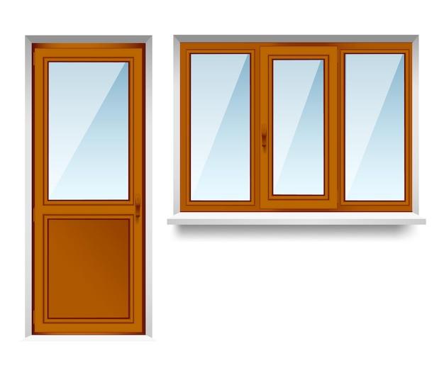 Conjunto de ventanas de madera transparente con puerta balcón. marcos de ventana fáciles de cuidar que ahorran costos de energía