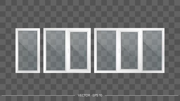 Conjunto de ventanas de metal-plástico con cristales transparentes. ventanas modernas en un estilo realista. vector.