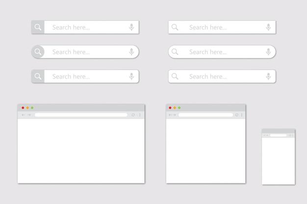 Conjunto de ventanas de navegador en blanco para diferentes dispositivos y barra de búsqueda